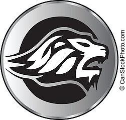 Der Löwe steht vor aggressivem Logo