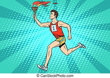Der Mann Athlet Fackelträger Sport Feuer Sommerspiele
