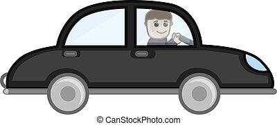 Der Mann fährt einen Auto-Vektor-Cartoon.