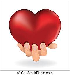 Der Mann hält Liebe rotes Herz in der Hand