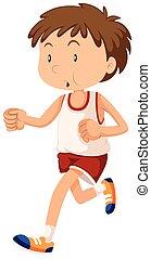 Der Mann in Sportkleidung läuft.