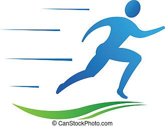 Der Mann läuft schnell. Sport-Fitness
