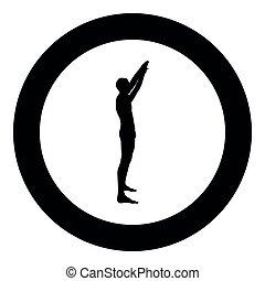 Der Mann mit den Armen erhob Sportsman hebt die Hände Sicht Icon schwarz Farbe Illustration im Kreis rund.