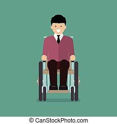 Der Mann sitzt im Rollstuhl