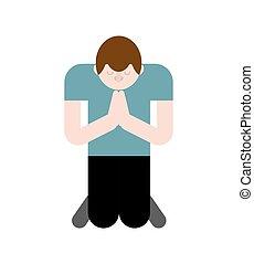 Der Mensch betet auf den Knien. Bete zu Gott
