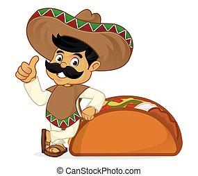 Der mexikanische Cartoon lehnt sich auf Tacos.