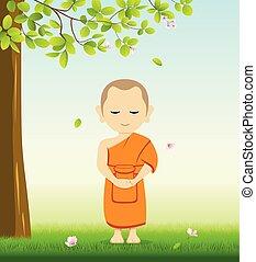 Der Monk-Budddhismus steht auf dem Gras unter dem Baum.