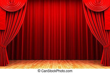 Der rote Vorhang öffnet sich