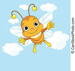 Der süße Bee fliegt in den Himmel.