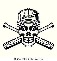 Der Schädel des Baseballspielers mit Hut und zwei Fledermaus.