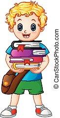Der Schuljunge hält Bücher.