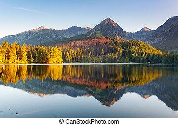 Der slowakische Bergsee in Tatra - Strbske pleso