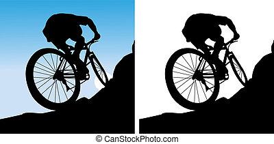 Der Sportler auf einem Fahrrad.
