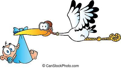 Der Storch liefert einen Neugeborenen aus