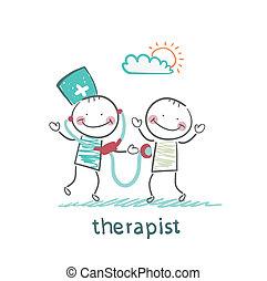 Der Therapeut hört einem Stethoskoppatienten zu.