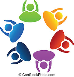 Der Vektor der Teamwork Hände hoch Logo.