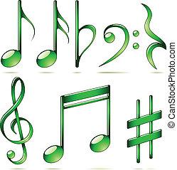 Der Vektor hat Musiknoten, die auf weißem Hintergrund isoliert sind.