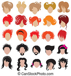 Der Vektor-Set von Trendy Hair Styling
