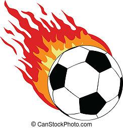 Der Vektor-Socer-Ball mit Feuer