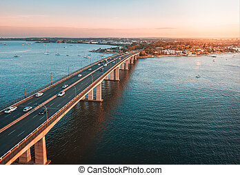 Der Verkehr auf Captain kocht Bridge sans souci Luftansicht.