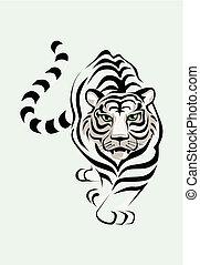 Der weiße Tiger ist gestohlen. Eine Vektor-Illustration