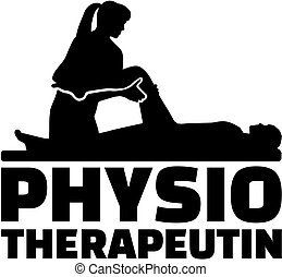 Der weibliche physiotherapeutische Titel mit Silhouette.