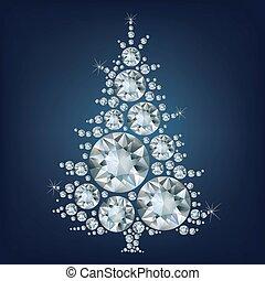 Der Weihnachtsbaum hat viele Diamone gemacht.