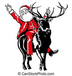 Der Weihnachtsmann fährt Hirsche