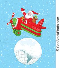 Der Weihnachtsmann fliegt sein Weihnachtsflugzeug.