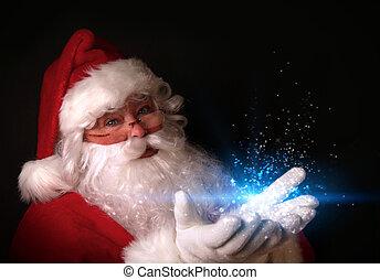 Der Weihnachtsmann hält magische Lichter in Händen.