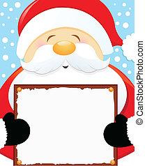 Der Weihnachtsmann hat ein leeres Schild