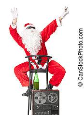 Der Weihnachtsmann hat Spaß auf der Party.