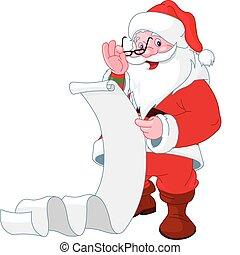 Der Weihnachtsmann liest eine Liste mit Geschenken