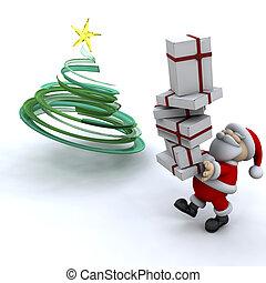 Der Weihnachtsmann trägt Geschenke