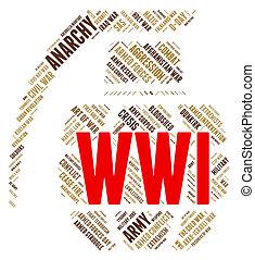Der Weltkrieg zeigt militärische Aktionen und Kämpfe.