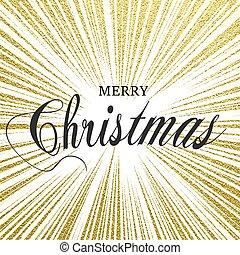 design., abbildung, weihnachten, vektor, beschriftung, fröhlich, gold, glitzern