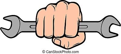 design, abhalten schraubenschlüssel, ikone, werkzeug, schraubenschlüssel, (repair, hand, oder, fist), mechaniker