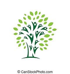 design, abstrakt, eco, ikone, natur, vektor, elemente, gemeinschaft, logo, leute, symbol, baum