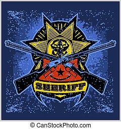 design, abzeichen, sheriff, winchesters, stern, gekreuzt, geschenkband