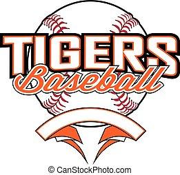 design, banner, baseball ball, tiger