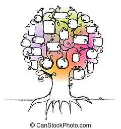 Design des Familienstammbaums, stecken Sie Ihre Fotos in Rahmen