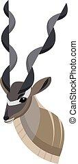 design, einmalig, karikatur, style., kopf, dein, künstlerisch, antelope., afrikanisch, einfache , kudu, porträt, gemacht, freigestellt, ikone, stilisiert, größer