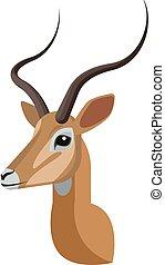 design, einmalig, karikatur, style., kopf, dein, künstlerisch, antelope., afrikanisch, oder, einfache , ikone, porträt, gemacht, freigestellt, gazelle, stilisiert, impala