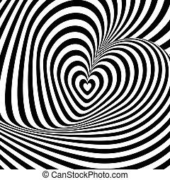 Design Herz Wirbelrotation Illusion Hintergrund