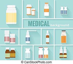 design, medizin, medikation, flaschen, hintergrund