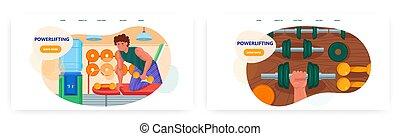 design, set., seite, workout., weightlifting, landung, banner, stärke, bodybuilding, powerlifting, website, turnhalle, vektor, schablone