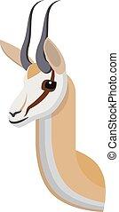 design, springbock, einmalig, karikatur, style., kopf, dein, künstlerisch, antelope., afrikanisch, oder, einfache , ikone, porträt, gemacht, freigestellt, gazelle, stilisiert