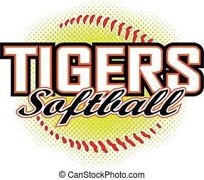 design, tiger, softball