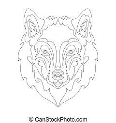 design, wolf., abstrakt, nett, stilisiert, t-shirt, stoff, gezeichnet, outwear., dekor, abbildung, logo, wand, porträt, oder, druck, machen, segeltuch., vektor, t�towierung, zeichnung, würden, sein, dieser, hand