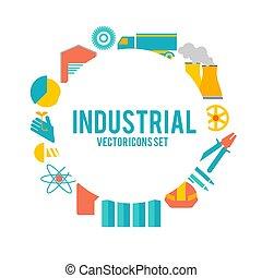 Designdekoratives Set mit Industrieobjekten Poster.